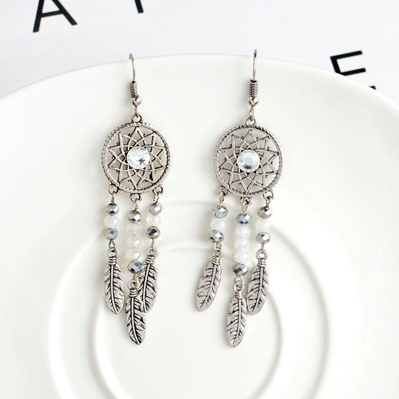Silver Color Dream Catcher Earrings