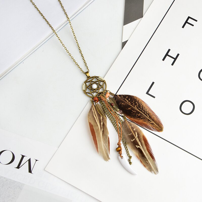 Beautiful Brown Feather Necklace